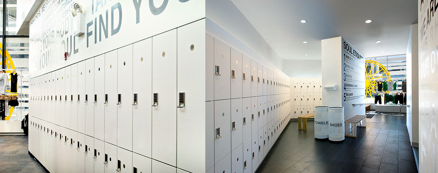 Soul Cycle Locker Room Installed with Cue Electronic Locks.