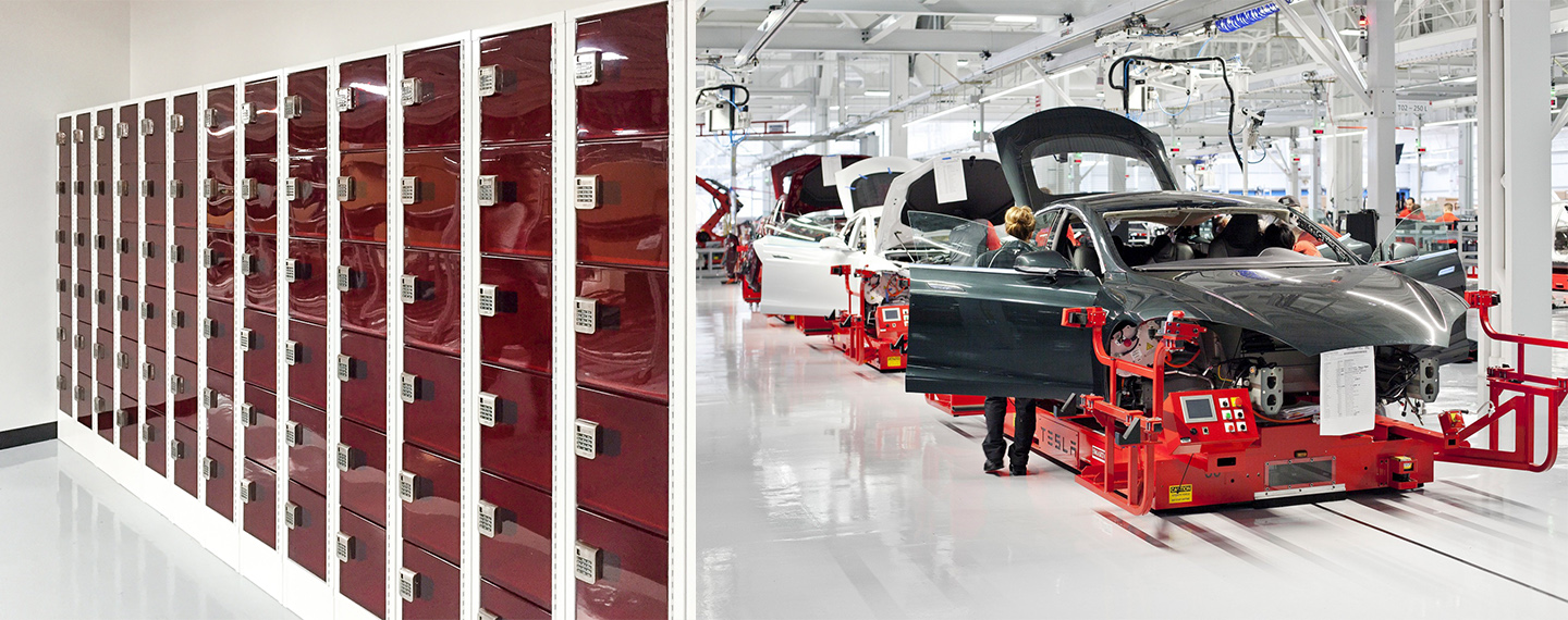 Polycarbonate Electronic Lockers Secured with Digilock Cue at California Tesla Factory